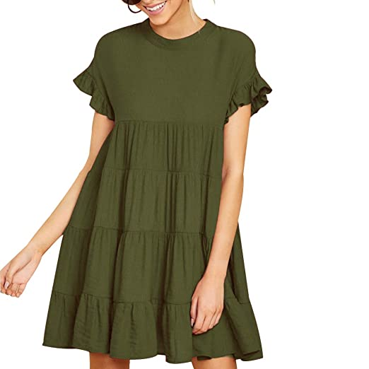 e45238e39e Joteisy Women's O Neck Ruffle Short Sleeve Tiered Casual Mini Dress