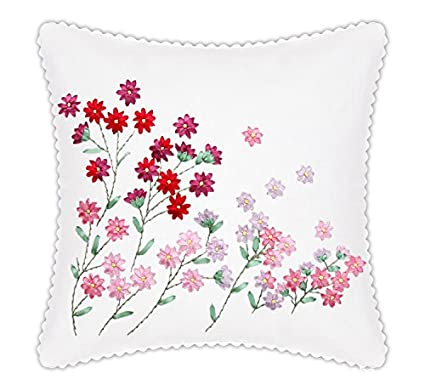 Amazon Com Throw Pillow Covers Diy Ribbon Embroidery Kit Pillow