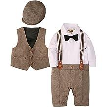 ZOEREA Baby Boy Outfits Set, 3pcs Long Sleeves Gentleman Jumpsuit & Vest Coat & Berets Hat with Bow Tie