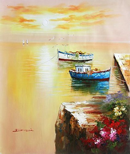 Oil Painting 'Two Small Boat Tied Up At The Wharf', 20 x 24 inch / 51 x 60 cm , on High Definition HD canvas prints is for Gifts And Basement, Gym And Nursery Decoration, gallery wall