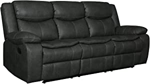 Blackjack Furniture Marsden Collection Modern Leather Air Living Room Reclining, Sofa, Sleek Gray