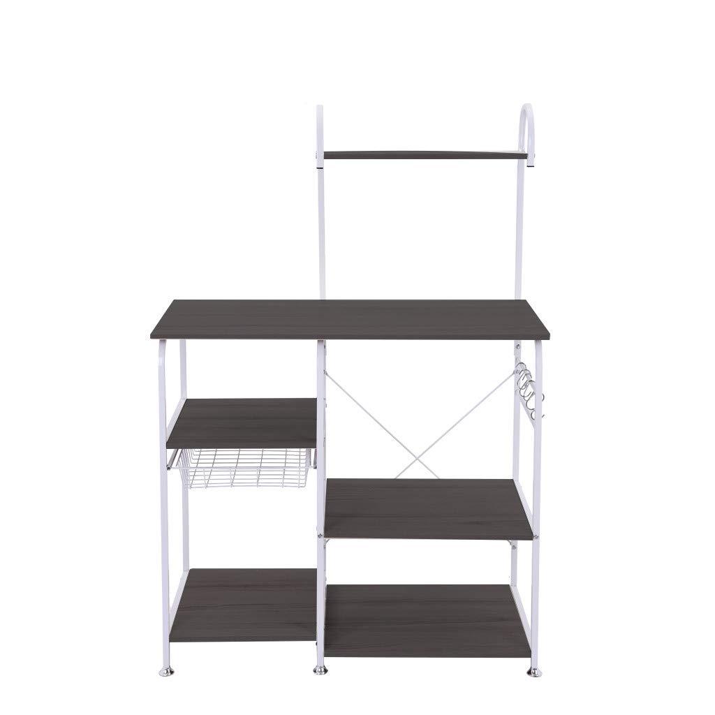 TADAMI Kitchen Storage Rack,Utility Shelf Multifunctional Kitchen Rack Microwave Oven Floor Stand Cupboard Spice Rack (Black)