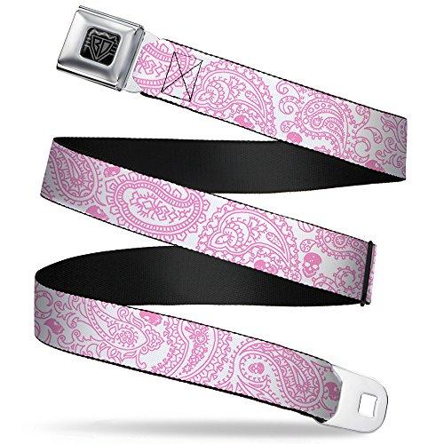 (Buckle-Down Seatbelt Belt - Bandana/Skulls White/Pink - 1.0