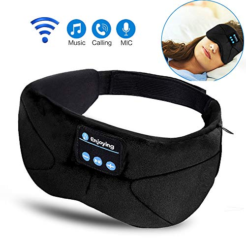 Sleep Headphones Wireless, Bluetooth Sleep Mask Sleeping Eye Mask Travel Music Headsets with Built-in Earphones Handsfree Microphone