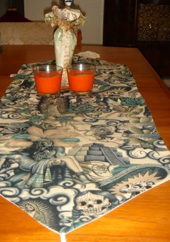 Day of the Dead Dia De Los Muertos Contijo Table Runner (Dia De Los Muertos Fabric Alexander Henry)