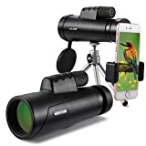 HD Photography Prism Monocular Telescope with Tripod & Smartphone Mount for Bird Watching,Scenery Shooting,Ball Games Concerts Watch,Adult Spy,Backpacking Wildlife Hunting and etc - 12x50