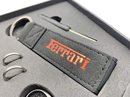 FERRARI RED Logo Emblem Name Plate PREMIUM LUXURY BLACK ALCANTARA with STITCHING Keychain Accessories with GRAPHITE COLOR Engraved Key Ring Attachment to Keyfob Fob GRIPPY TEXTURE LUXURY APPEARANCE