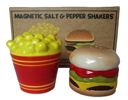 Ceramic Salt & Pepper Shaker Fun Magnets - Cheeseburger and French Fries (Fun Salt Shakers)