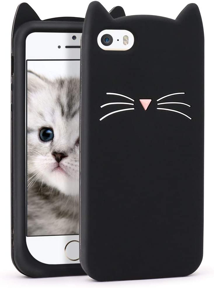 Yonocosta iPhone 5 Case, iPhone 5S Case, Funny Cute 3D Cartoon Black Whisker Cat Kitty Soft Silicone Gel Rubber Bumper Case Cover for iPhone 5 / 5S / 5C (Whisker Cat Black)
