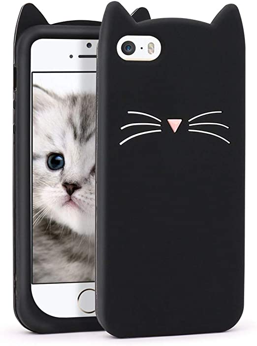 Yonocosta iPhone 5 Case, iPhone 5S Case, Funny Cute 3D Cartoon Black Whisker Cat Kitty Soft Silicone Gel Rubber Bumper Case Cover for iPhone 5 / 5S / ...