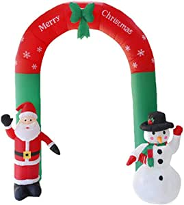 MOWE 8 Foot Tall Lighted Christmas Inflatable Santa and Snowman Archway with Bow LED Yard Art Decoration