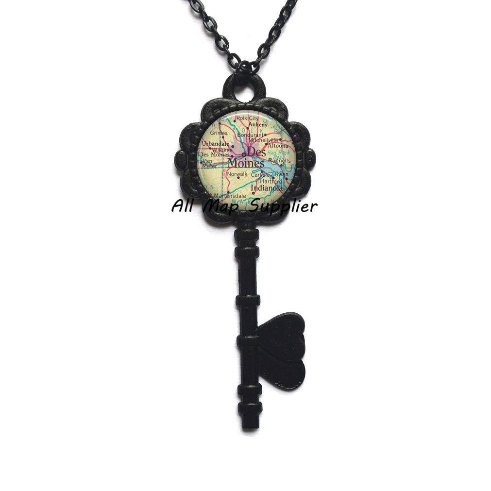 Amazon.com: AllMapsupplier Charming Key Necklace Des Moines ...