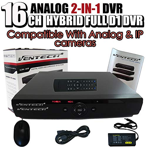 DVR 16 Channel Ventech Full 960H h.264 Surveillance Recorder Security Systems HDMI Output QR Code Super Easy Set Up Push Alerts on Cell Phones & Free App (NO Hard Drive)