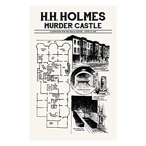 (Inked and Screened HH Holmes Murder Castle - Hand Made Art Screen Print - 11