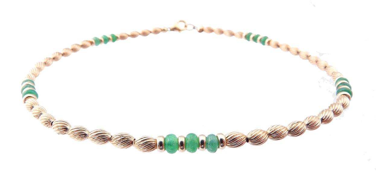 DAMALI 14K Gold Ankle Bracelets: Emerald Beaded May Birthstone Jewelry