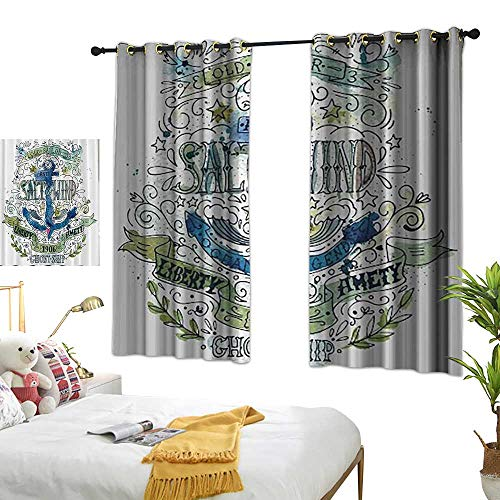 Warm Family Thermal Insulated Drapes for Kitchen/Bedroom Nautical Seaside West Indies Anchor Salt & Wind 1906 Liberty Amity Ghost Ship Old Sailor Stormy Ocean Legend Vintage Noise Reducing 55