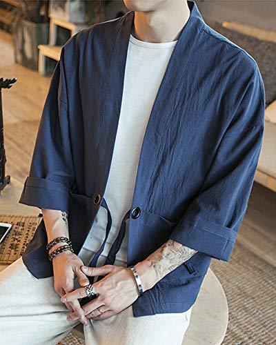 Japonés Coat Cardigan Linen Cotton Cloak Loose 3 Blends Vintage Jacket Fit Short Kimono Robe Hombre Armada Manga Mens Coat 4 dqwdUt1