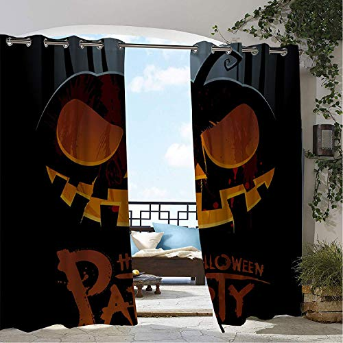 Linhomedecor Balcony Waterproof Curtains Halloween Party Scary Pumpk Lantern Multicolor pergola Grommet Bathroom Curtains 72 by 108 inch]()