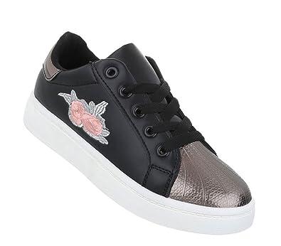 f2bfeab40f Schuhcity24 Damen Sneakers Patches Metallic Cap | Sportschuhe Schnürer |  Hallenschuhe weiße Sohle | Blumen Stickerei: Amazon.de: Schuhe & Handtaschen
