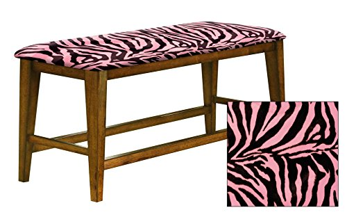 "Counter Height 25"" Tall Universal Bench in an Oak Finish Featuring a Padded Seat Cushion With Your Choice of an Animal Print Fabric Covered Seat Cushion (Pink and Black Zebra Velboa) by The Furniture Cove"