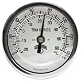 Winters TBM Series Stainless Steel 304 Dual Scale Bi-Metal Thermometer, 2-1/2'' Stem, 1/2'' NPT Fixed Center Back Mount Connection, 3'' Dial, 0-140 F/C Range