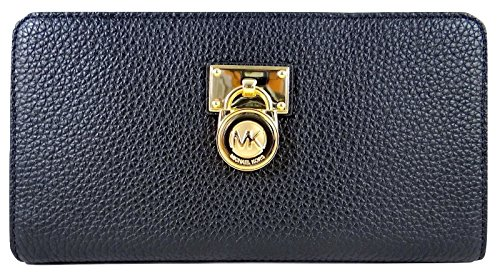 Michael Kors Hamilton Traveler Large Zip Around Leather Wallet (Black) by Michael Kors