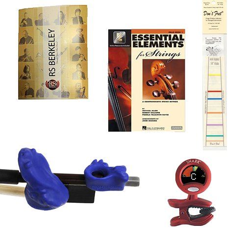 Violin Players Instructional Pack (For 4/4 Full Size Violin)- Essential Beginners Pack for the Violin Includes: Blue Bow Hold Buddy Violin Teaching Aid, Don't Fret Position Indicator for 4/4 Violin, Band Folder, Essential Elements 2000 Book 1 for Violin, & Tuner & Metronome