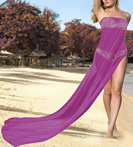 Magenta La j217 Pañuelo Aloha Bali Gasa Vestido De Puro Sólida Pareo Leela vprqPv