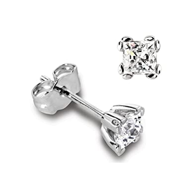 Abelini Certified 100% Natural Princess Diamond Stud Earrings for Women (Available in 0.20-1.00ct & Yellow, White Gold & platinum)
