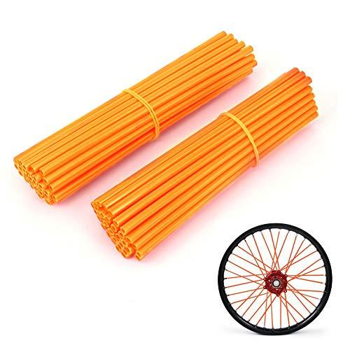 Spoke Covers,72 pcs Stylish Orange Wheel Rim Spoke Cover Skins Wraps Kit Pipe Trim Decoration Protector Guard Wraps Coats for Universal Motocross and Motorcycle