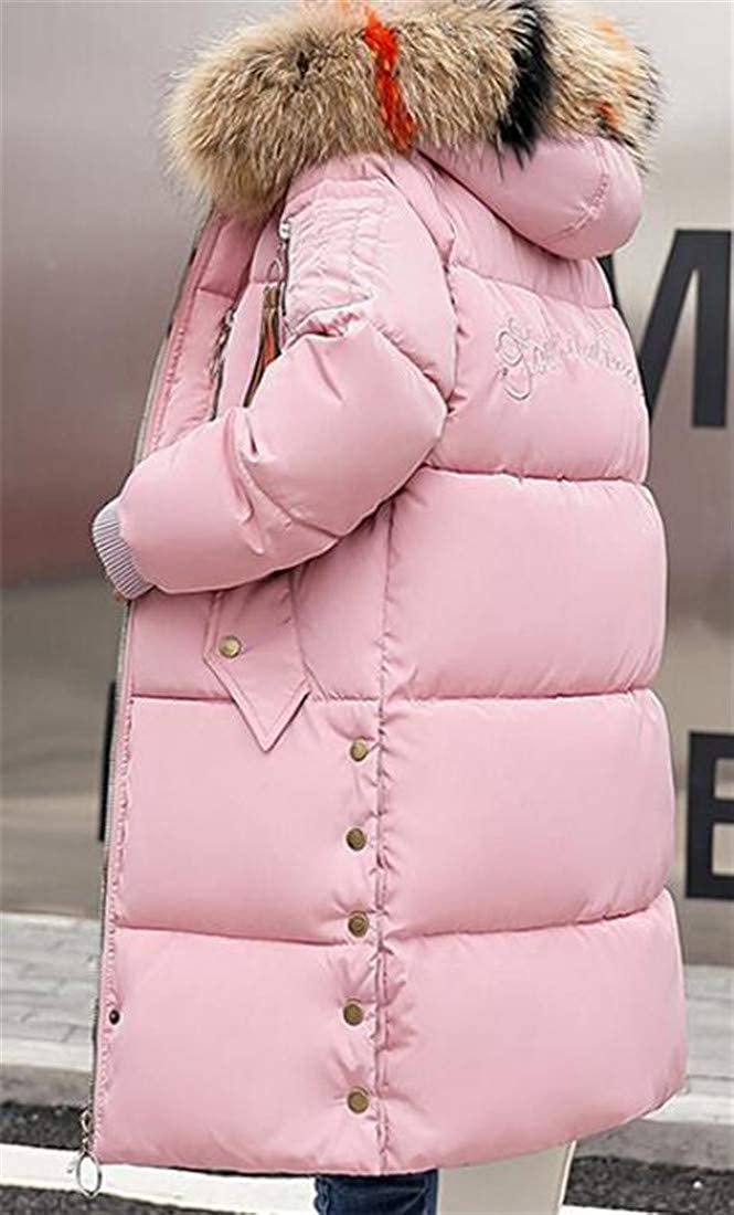 Pivaconis Womens Thicken Hoodie Outerwear Puffer Quilted Faux Fur Collar Parkas Down Coat