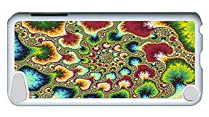 Rugged iPod Touch 5 Case, Psychedelic Fractal Custom Design PC Hard Case for iPod Touch 5 White