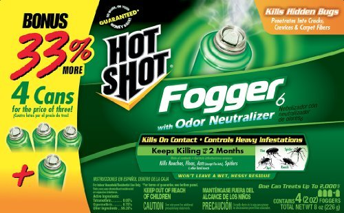 Hot Shot 96181 Indoor Pest Control Fogger, 4-Count Bonus Size Style: Single Pack, Model: HG-96181, Home/Garden & Outdoor Store