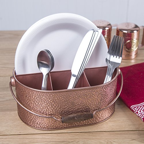 Elegant Home Copper Hammered Flatware Caddy Organizer for Kitchen Counter-top/Outdoor Storage Dining Table - Comfortable Handle (Ovel) by HC (Image #1)