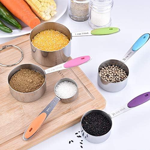 AMAYGA Juego de Tazas y Cucharas Medidoras de Acero Inoxidable ,5 Tazas de medici/ón,5 cucharas medidoras para medir Ingredientes l/íquidos y Secos para Ingredientes Secos y l/íquidos 10 Packs