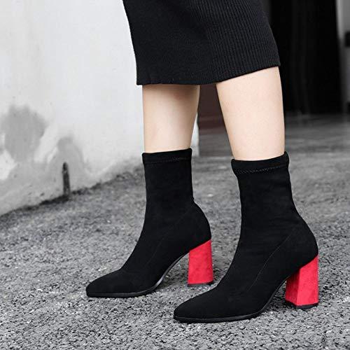 red Femmes Bottes Hauteur Cheville Taoffen Black qTHwXF