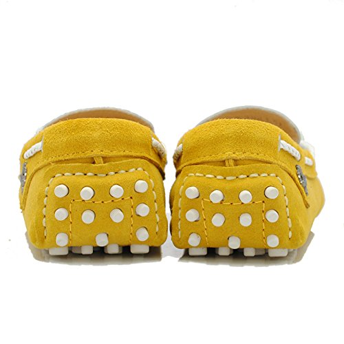 Lace Womens Walking Casual Running Loafers Leather Driving TDA Yellow Travelling Up qHExwd