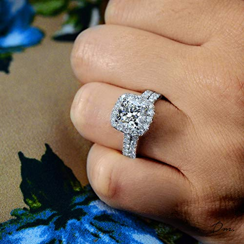 DIAMOND MANSION Cushion Cut Halo Pave Diamond Engagement Ring - 2 Ct. GIA Certified Center (Real & Natural)