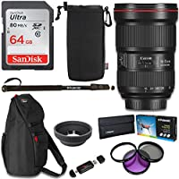 Canon EF 16–35mm f/2.8L III USM Lens, Polaroid 82mm Filter Kit, Ritz Gear Photo Sling Bag, 64GB Memory, Polaroid Monopod and Accessory Bundle