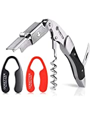 GoBetter Wine Opener with 2 Wine Foil Cutters (Black & Red), Professional Waiter's Corkscrew, Beer and Soda Bottle Opener Functional Gift for Wine Lovers (Jet Black)