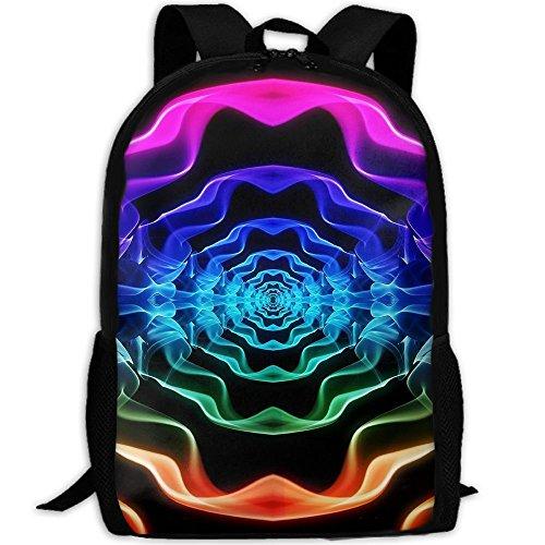 Markui Adult Travel Hiking Laptop Backpack Color Stripe Kaleidoscope School Multipurpose Durable Daypacks Zipper Bags Fashion