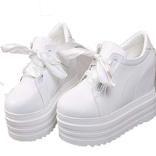 Plataforma De Mujer Tacones Altos Zapatos Casuales Primavera OtoñO con Cordones Zapatillas De Lona Zapatillas Mocasines De Altura CuñAs Zapatillas De ...