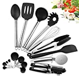 YISSVIC Kitchen Utensil Set - 11 pcs Silicone Cooking Utensil Set Kitchen Tools Set with Stainless Steel Handle(Included Oil Brush)