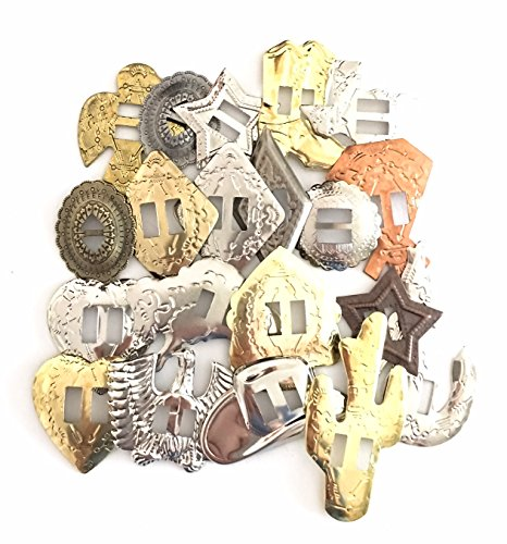 Conchos Grab Bag! Western Styles, Mixed Shapes and Sizes, Slotted; 25 Pieces