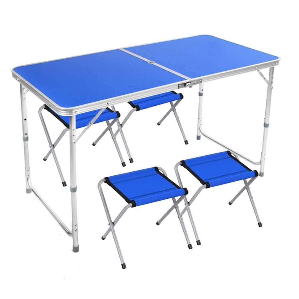 MUMM Picnic Tables Folding Folding Camping Picnic Table with Umbrella Holes for Outdoor Dinner BBQ Table Picnic Table oO (Color : Blue) by MUMM