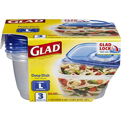 Glad Food Storage Containers - Deep Dish Container - 64 Ounce - 3 Containers ()