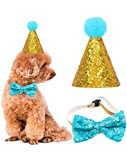 Pet Dog Birthday Cone Hat and Bow Tie Collar Sequin Set,Birthday Caps Reusable Headwear Bowknot Party Costume Perfect Dog for Puppy Birthday Gift (Blue)