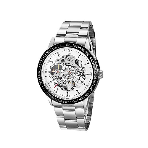 Android Skeleton Watch - ASJ Men's Classic Skeleton Stainless Steel Mechnical Watch with Link Bracelet(Silver) ...