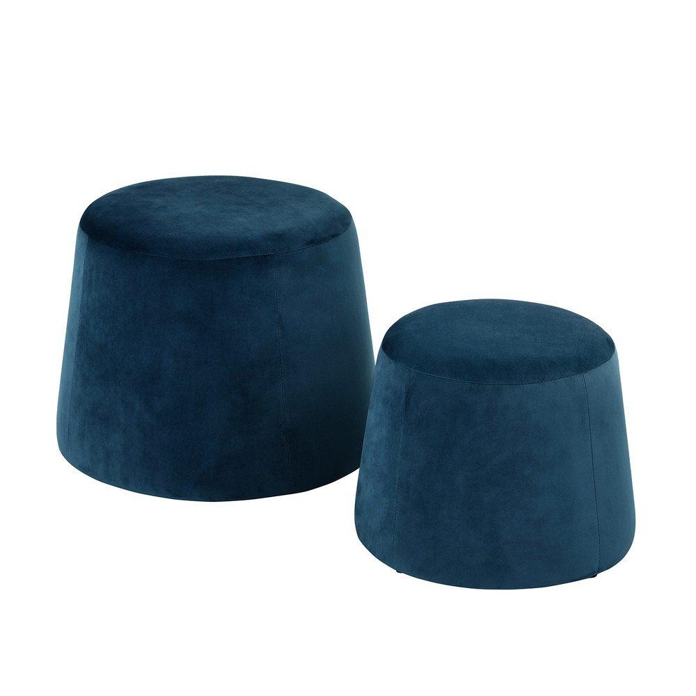 ASUUNY Set di 2 sgabelli pouf in velluto ALFO