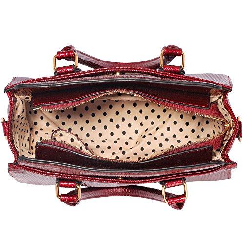Traje de neopreno para mujer New para el hombro bolsa grande para mujer bolsos funda rígida con diseño de estampado de tamaño grande del famoso británico de piel sintética bolsa aislante para C - Burgundy